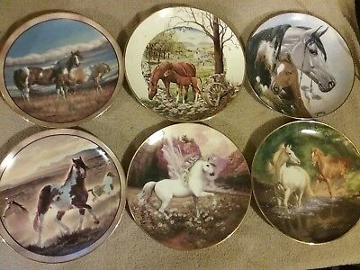Assorted collections and artists The Danbury Mint HORSE Plate LOT OF 6