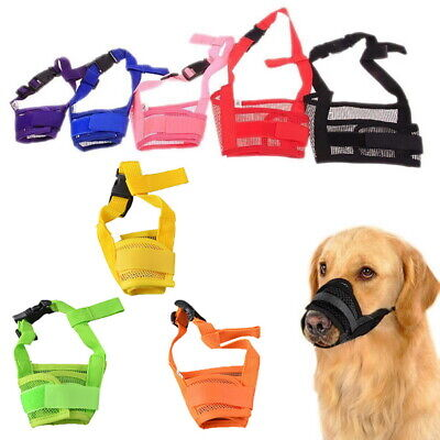 Dog Safety Muzzle Adjustable Biting Barking Chewing Small Medium Large Mesh IN