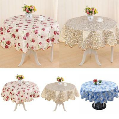 Round PVC Tablecloth Kitchen Dining Oilcloth Vinyl Table Cloth Cover Protect