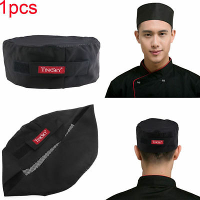 Professional Breathable Mesh Top Skull Cap Catering Chefs Hat w/Adjustable Strap