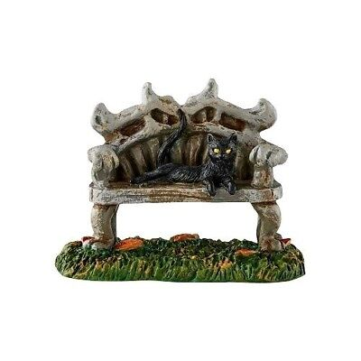 Black Cat Bench Dept 56 Snow Village Halloween 4054254 accessory witch haunted A