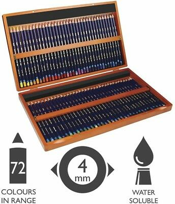 Derwent Colored Pencils Inktense Ink Pencils Drawing Art Wooden Box 72 NEW