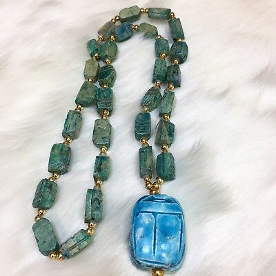 Vintage Faience Egyptian Revival Carved Scarab Beaded Necklace