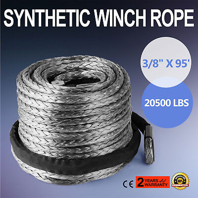 "Winch Synthetic Line Cable Rope 20500lbs 3/8""x95' 20500LBs ATV SUV Recovery Rope"