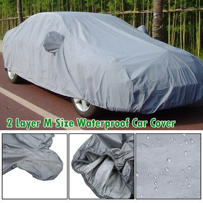 2 Layer Heavy Duty Waterproof Car Cover Scratch Proof M Size Cotton Lining FN