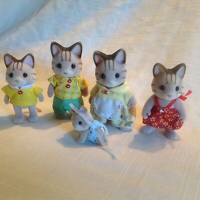 Calico Critters/Sylvanian Families Sandy Striped Carmel Cat Family of 5 w/Baby