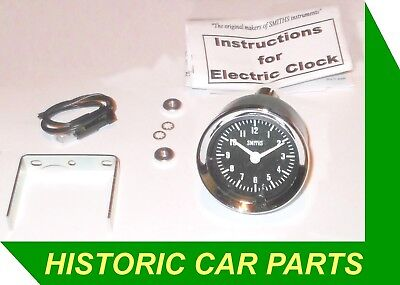 SMITHS Style Analogue Black faced Classic Clock for Austin Morris Mini 1950-70s