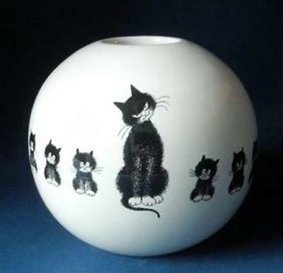 """Cats In A Row"" Kittens Artist Albert Dubout Ceramic Sphere Round Bud Vase"