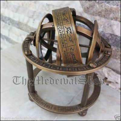Antique Solid Brass Armillary Sphere Vintage Tabletop Astrolabe Globe Style Gift