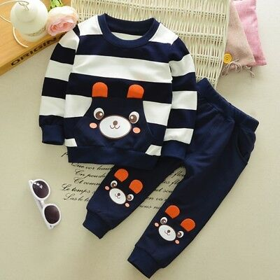 Baby Kids Boy Girl Cute Outfits Long Sleeve Pullover Shirt Tops+Pant Clothes Set