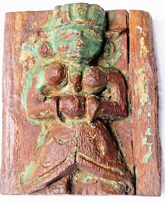 1900's CARVED WOOD FIGURE MUSICIAN FEMALE CLASSIC rock cut STYLE part Cornice