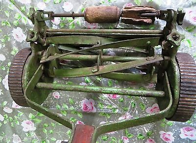 ANTIQUE LAWN MOWER GARDEN PUSH CUTTER MACHINE FOLBATE REAL CI wheel  ENGLAND #