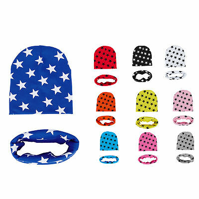 Fashion Unisex Baby Girls Child Boys Star Pattern Hats Scarf Two-piece Set M4J4