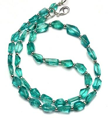 Natural Gemstone Green Apatite Faceted Nugget Beads Necklace 17 Inches