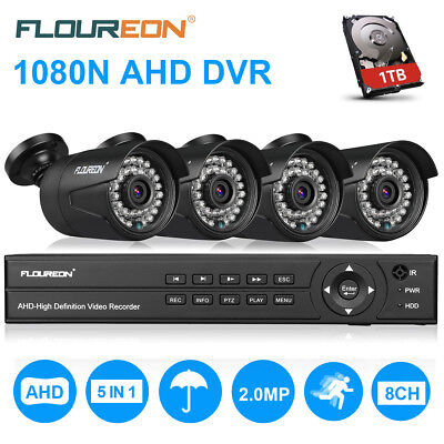 FLOUREON 1pc 8CH 1080P AHD DVR + 4pcs Kit de cámara de seguridad 3000TVL 2.0MP