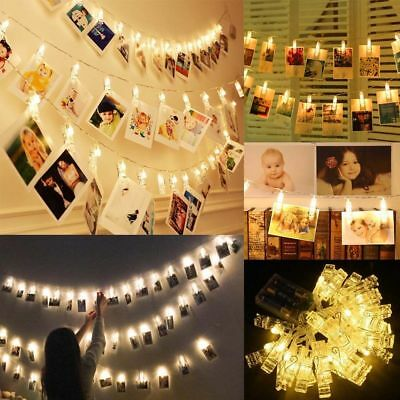 10 LED Hanging Picture Photo Peg Clip Shape Fairy Wire String Lights Chain Decor