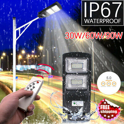 30/60/90W LED Solar Street Wall Light Radar Induction Outdoor Timing Lamp+Remote