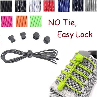 Elastic Lace No Tie System Easy Lock Shoe Laces Shoelaces Runners Kids Adults