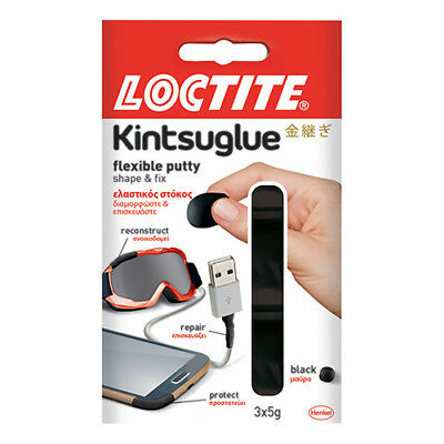 Loctite Kintsuglue Waterproof Flexible Putty to Repair Objects 3x5g Black Ref 22