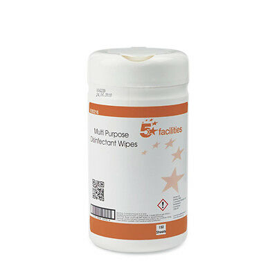 5 Star Facilities Multipurpose Disinfectant Wipes Anti-bacterial 23gsm 13x13cm [