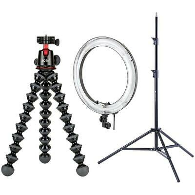 "Joby GorillaPod 5K Kit, Black + 19"" Fluorescent Ring Light + Case + 7' Stand"
