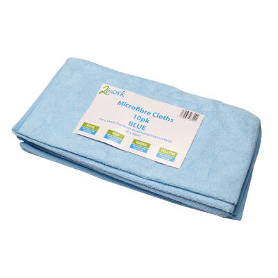 2Work Blue 400x400mm Microfibre Cloth Pack of 10 101161BU
