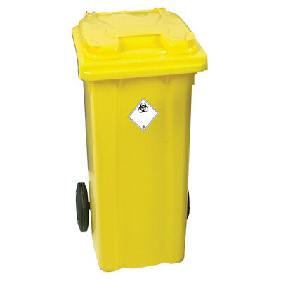 Yellow Clinical Waste 2 Wheel Refuse Container 120 Litres 377918