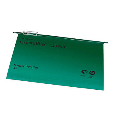 Rexel Crystalfile Classic Suspension File Manilla 15mm V-base 230gsm A4 Green Re