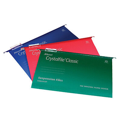 Rexel Crystalfile Classic Suspension File Manilla 15mm V-base 230gsm A4 Blue Ref