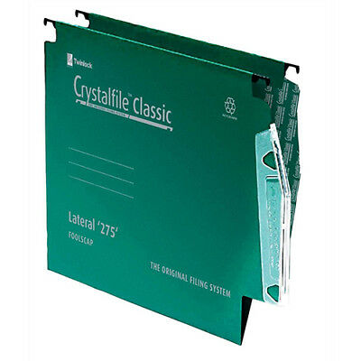 Rexel Crystalfile Classic Linking Lateral File Manilla 15mm V-base Green 230gsm