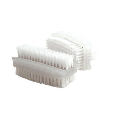 Nail Brush Double Sided Plastic White [Pack 2]