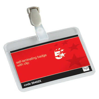 5 Star Office Name Badges Self Laminating Landscape with Plastic Clip 54x90mm [P