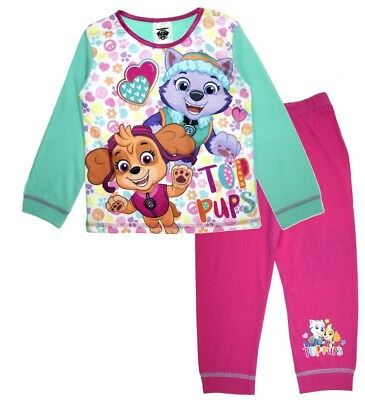 Girls Paw Patrol Long Pyjamas Kids 2 Piece Character PJs Nightwear Size 2 Pups