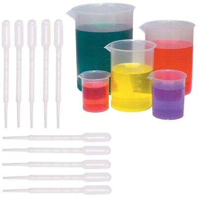 5 Sizes Plastic Beakers Measuring Cups Set(50, 100, 250, 500, 1000ML) and  E8W5)