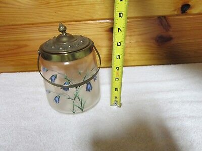 Antique Hand Painted Biscuit Jar-Decorated Plated Handle & Lid