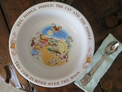 Avon 1984 Baby Child HEY DIDDLE DIDDLE Bowl & Spoon Set MOTHER GOOSE