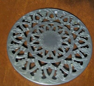 Silver Plate and Glass Trivet From Eales 1779 Round  Made in Italy