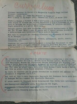 1935 Written Document From The Large Painter And Architect Imola Giovanni