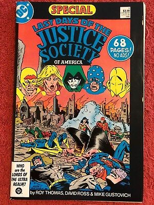 Last Days of the Justice Society Special 1 DC Lot 1 1986 Thomas Ross Gustovich