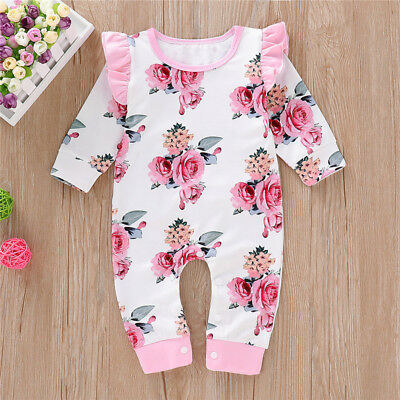 Sweet Baby Girls Romper Clothes Newborn Floral Jumpsuit Bodysuit Playsuit Outfit