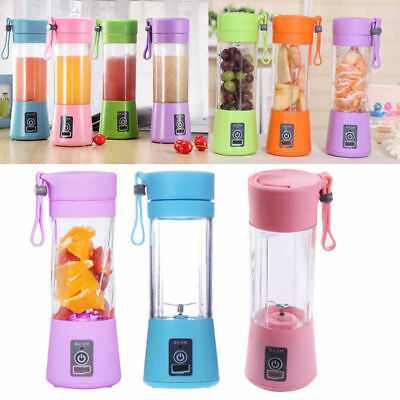 380ml Mini USB Rechargeable Electric Juicer Bottle Fruit Blender Mixer w/ 2 Vane
