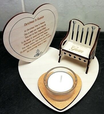 Christmas In Heaven Memorial With Glass Candle Holder and Personalised  Chair