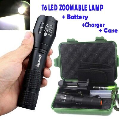 50000LM T6 LED Zoomable Tactical LED Flashlights Torch +18650 Battery+Charger