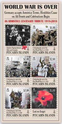 Pitcairn Islands 2018 Wwi Armistice Sheet Very Fine Mnh