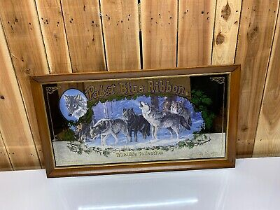 Pabst Blue Ribbon Wildlife Series Limited Edition Wolf Mirror