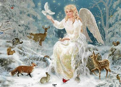 "Winter's Angel And Animals Beautiful Christmas Card ""sparkles"" (4)"
