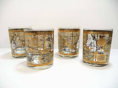 Mid Century Gentleman's Set of 4 ROCKS Glasses OLD WORLD MAPS 22K Gold