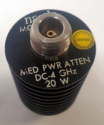 NARDA 766-20 N-TYPE 20dB COAXIAL POWER ATTENUATOR, DC TO 4GHz  20W TESTED