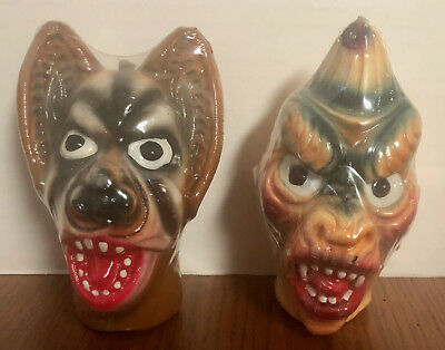 2 Old Sealed Topstone Wax Halloween Devil & Wolf Head Candles Banshee Zombie