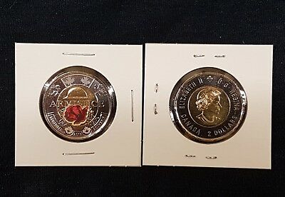 2018 Canada  Armistice Colored Toonie,  $2   UNC. from mint roll